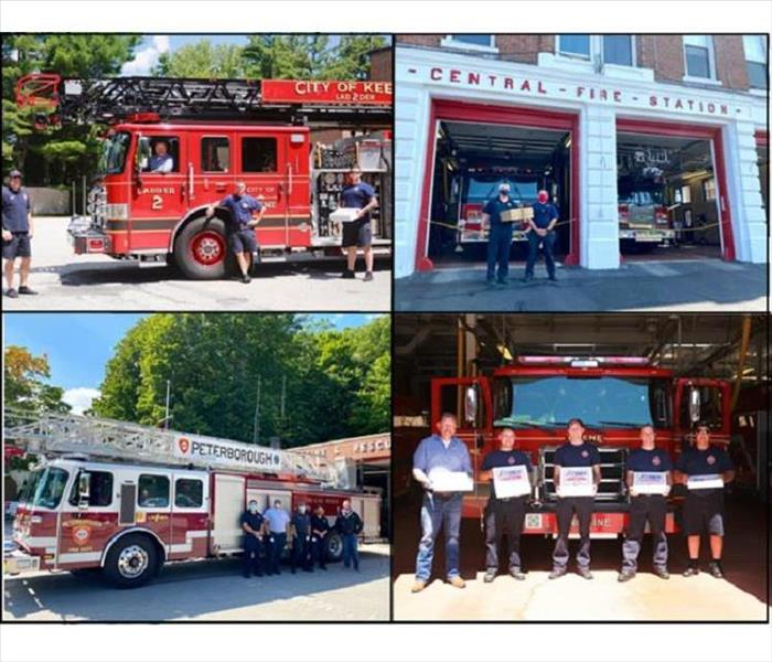 Four photos of SERVPRO representative hand delivering pizza to local fire departments and their personnel.
