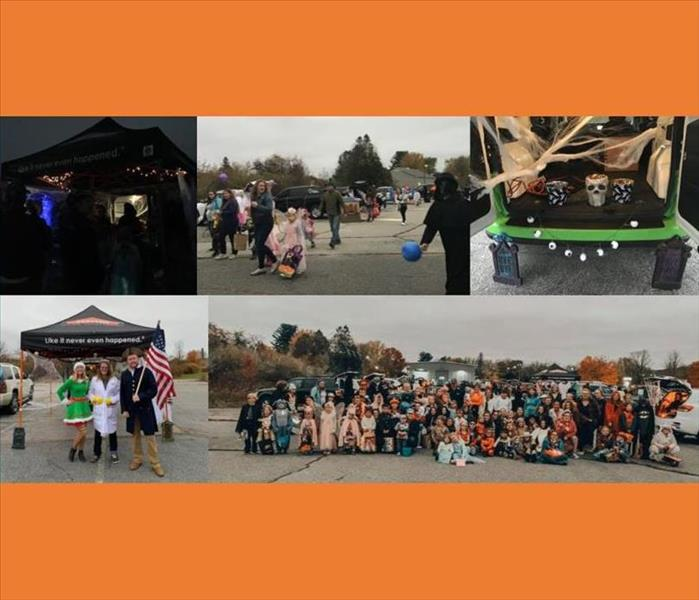 collage of pictures from a Trunk or Treat