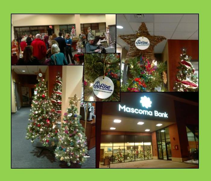 collage- Festival of Trees at a Mascoma Bank, with pictures of guests, Christmas trees and RISE for Baby and Family ornaments