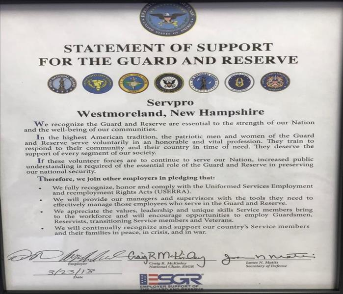 We Proudly Display the Letter of Support from the ESGR