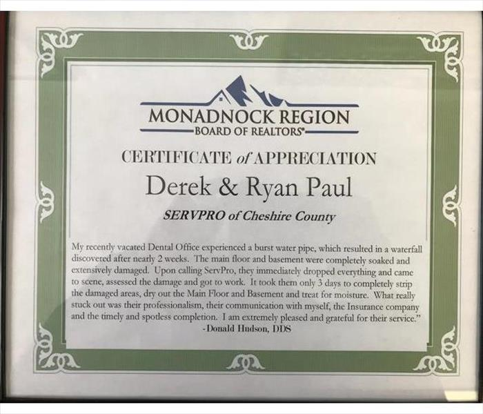 Monadnock Water Damage Restoration Earns Recognition